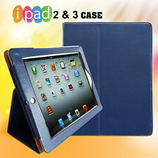 iPad 2 or 3 Case Blue Leather Case Smart Cover Stand for iPad 2 or iPad 3