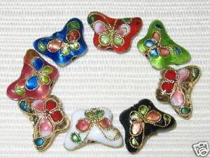 Sale! 50 10x15mm Butterfly Mix Handmade Cloisonne Beads