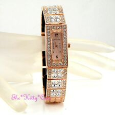Deco Rose Gold Dress Bling Statement Ladies Watch w/ Square Swarovski Crystals