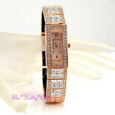Deco Rose Gold Dress Bling Statement Ladies Watch w/ Square Swarovski Crystals