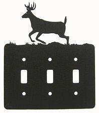 Buck Deer Triple Switch Cover Plate Black