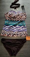 la blanca two piece tankini swimsuit halter brown/white top & bottom sz 8 new