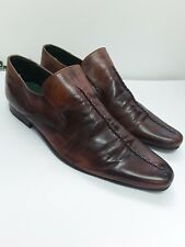 Mens Faded Brown Leather Shoes Oaktrak Size 10 Pointy