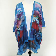 NEW NWT Cocoon House Degas Ballet Blue Dancers 100% Silk Kimono Jacket Large, XL