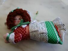 """HOLIDAY HANGING FABRIC ORNAMENT - 6"""" LONG, 4"""" TALL - Looks like she is flying"""