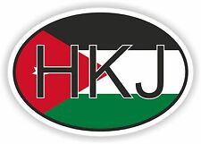 HKJ JORDAN COUNTRY CODE OVAL WITH FLAG STICKER bumper decal car bike tablet