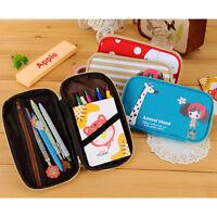 Cute Canvas Pencil Pen Case Cosmetic Makeup Card Coin Purse Pouch Zipper Bag hot