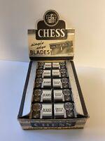 "Vintage Razor Blade NOS Display Box ""Chess Brand"" Single Edge; Contains 20 Packs"