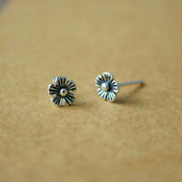 Oxidized Sterling Silver Tiny Flower Cartilage Tragus Helix Ear Stud Earrings
