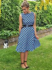 Vintage Polka Dot Print Boat Neck Sleeveless Dress For Women