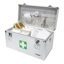 HMF Medizinkoffer Erste-Hilfe-Koffer leer, Arzneikoffer Aluminium, silber