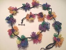 """Tatted Festive Necklace 14 Tatted Flowers 20"""" Long Dove Country Tatting Designed"""