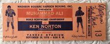 1976 Boxing Full Ticket Muhammad Ali vs Ken Norton September 28 Yankee Stadium