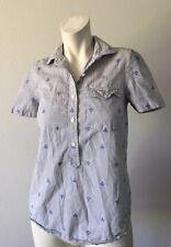 J Crew Women's Anchor Collar Button Down Short Sleeve Shirt Size XXS