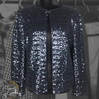Boden Womens Navy Blue Sequins Sparkling Long Sleeve Party Blazer Jacket Size 4