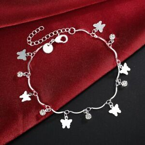 Fashion Womens 925 Sterling Silver Plated Butterfly CZ Foot Chain Ankle Bracelet