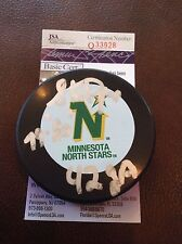 Hockey Steve Payne Autographed North Stars Puck JSA Cert