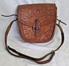 Vtg HANDCRAFTED TOOLED LEATHER PURSE Shoulder Bag, Hippie, Western 1960-1970s