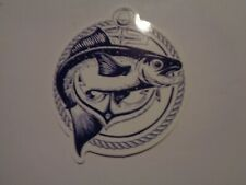 "Fishing Box or Car vinyl Sticker "" Fish in rope & anchor """