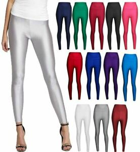 Womens High Waist Disco Shiny Leggings Ladies Slim Fit Wet Look Tight Pants