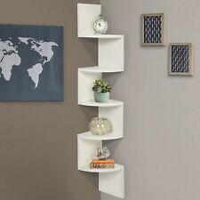 Large Corner Wood Zig Zag Wall Shelf White Finish Home Decor Furniture