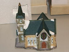 Hand Painted Fine Porcelain Church 8 inches with light Mint in box