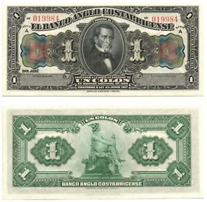COSTA RICA - El Banco Anglo Costarricense 1 Colon (1917) Pick S121r, UNC *RARE*