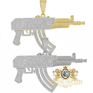 Men's Real Diamond 1.00 Cwt. AK-47 Rifle Machine Gun 10K Gold Over Charm Pendent