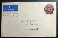 1934 Manchester England First Inland Flight Airmail Cover Ffc to Bournemouth