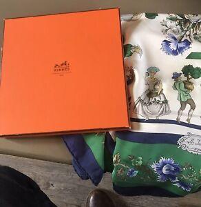 "Boxed Hermes Silk Scarf ""Les Jardiniere Du Roy"""