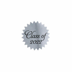 """Shiny Silver Foil Class of 2022 Graduation Stickers Seals   1"""" inch - 500 Pack"""