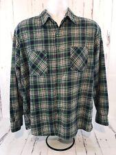 Vintage Men's Highlander Flannel by Bud Berma Xl Blue Green Plaid Euc