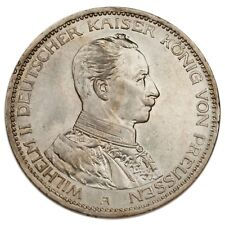1914-A German States Prussia Silver 3 Marks Coin AU KM #538