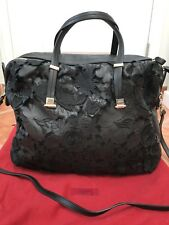 Valentino Authentic Black Flower Design Handbag Crossbody Shoulder Bag Large