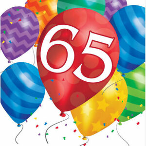 65th Birthday Party Napkins Age 65 tableware Paper Serviettes
