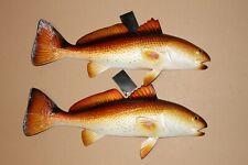 (2) Redfish Fishing Realistic Replicas Raised Details Vivid Colors, 19 inches