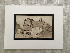 Original WW1 Painting Signed Watercolour Landscape Artwork Soldier War Art