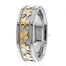 10K Solid Gold Celtic Wedding Bands Ring Clover Mens Womens Wedding Bands Rings