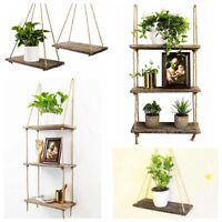 1 2 3 Tier Rustic Wooden Hanging Rope Solid Wood Shelf-Handmade Floating Shelves