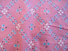"""Vintage Cotton Feed Sack Fabric Pink Print 36 Wide x 29"""" Long"""