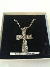 Celtic Interlaced Cross ICP Emblem on Silver Platinum Plated Necklace 18""