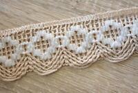 3 Meters TR804 Lace Beige/Cream 55mm Wide Trim Cotton