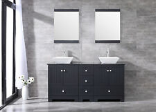 "60"" Bathroom Double Solid Wood Vanity Cabinet Ceramic Sinks Glass Top w/Mirror"