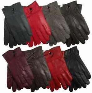Handschuhe Damen Kunstleder leicht gefüttert Leder Handschuhe NEU