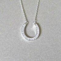 0.20CT Round Cut Diamond Horseshoe Pendant Necklace 14K White Gold Over