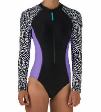 NWT Women's Long Sleeve Speedo One piece Power Flex Eco Swimsuit $98 Size Medium