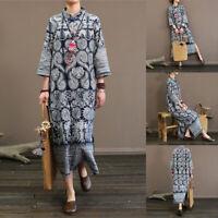 Mode Femme Coton Bouton Manche Longue Droit Jupe Fendu Robe Impression Plus