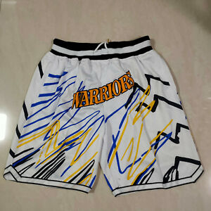 NEW Golden State Warriors Men's White Basketball Shorts With Pockets Size: S-XXL