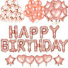 51x Rose Gold Happy Birthday Banner Foil Confetti Star Heart Party Decor Balloon