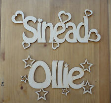 Personalised Wooden Name Plaques Words/Letters Wall/Door Art/craft/Sign birch